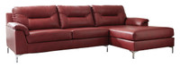 Adair Faux Leather Right Facing Sectional Red