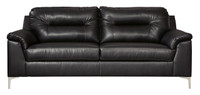Adair Faux Leather Sofa Black