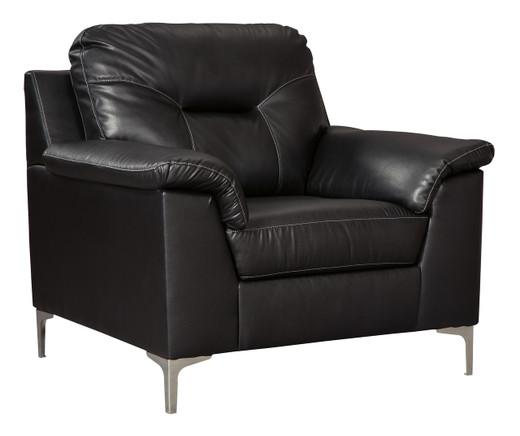Adair Faux Leather Chair Black