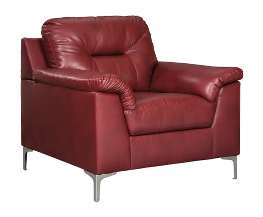 Adair Faux Leather Chair Red