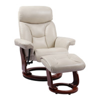Kent Bonded Leather Recliner with Ottoman - Taupe