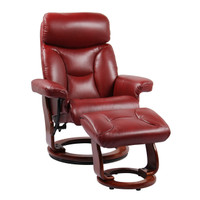 Kent Bonded Leather Recliner with Ottoman Ruby