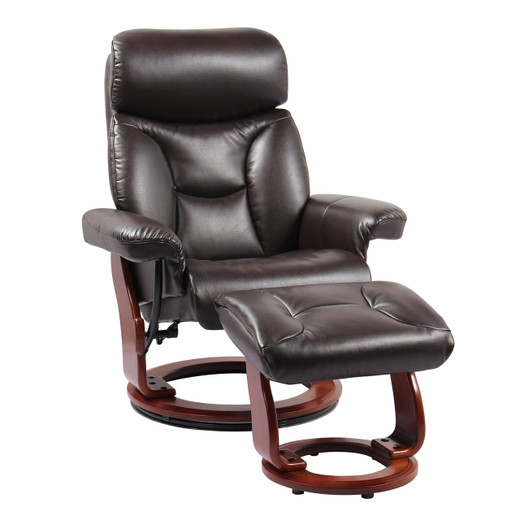 Kent Bonded Leather Chair with Ottoman Java