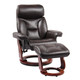 Kent Bonded Leather Recliner with Ottoman - Brown