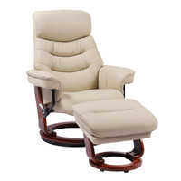 Finn Genuine Leather Recliner with Ottoman Taupe