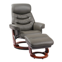 Finn Genuine Leather Recliner with Ottoman Grey