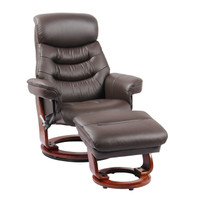 Finn Genuine Leather Chair with Ottoman Kona Brown