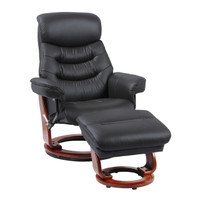 Finn Genuine Leather Recliner with Ottoman Black