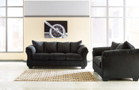Madison Fabric Sofa & Love Seat Black