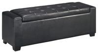 Jax Faux Leather Storage Bench Black