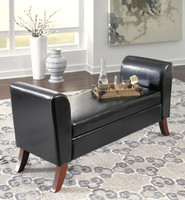 Duke Faux Leather Storage Bench Brown