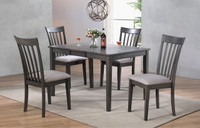 Delfini 5pc Butterfly Leaf Dining Set Grey