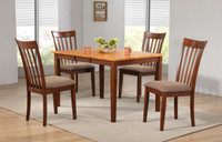 Delfini 5pc Butterfly Leaf Dining Set Fruitwood