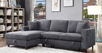 Avril Fabric Left Hand Facing Double Sofa Bed Sectional with Storage Grey