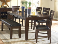 Amelia 6pc Extension Leaf Dining Set with Bench