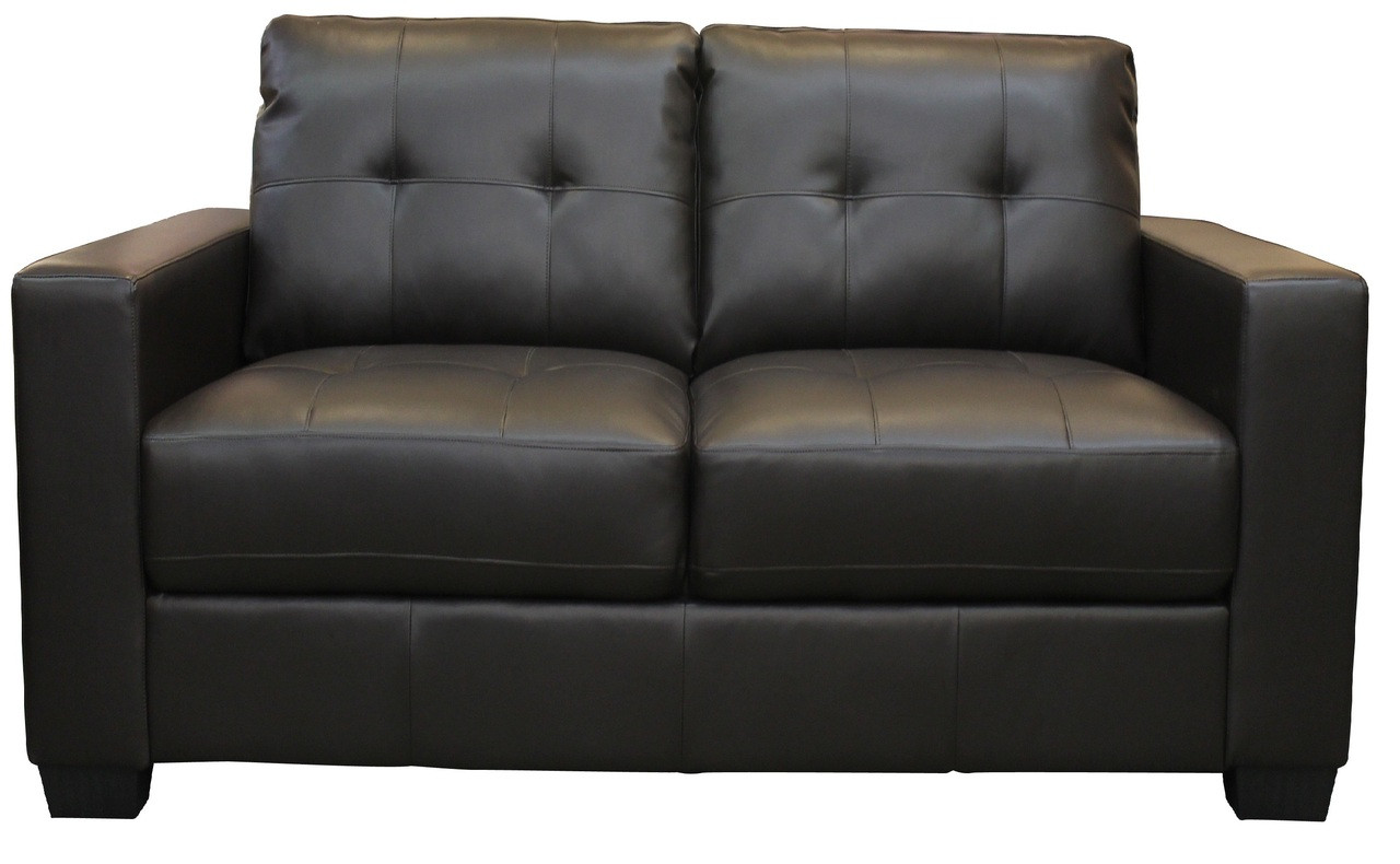 Lacey Black Bonded Leather Loveseat Pallucci Furniture