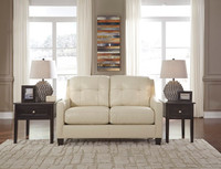 Harley Genuine Leather Loveseat Cream