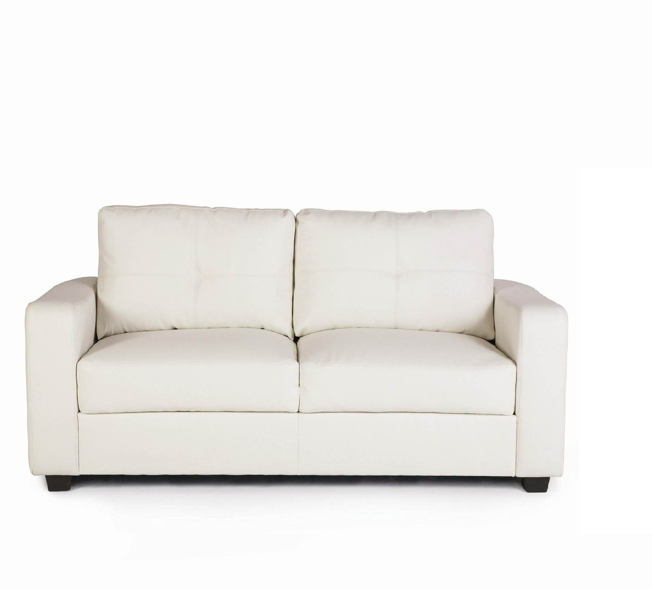 White Lacey Bonded Leather Loveseat