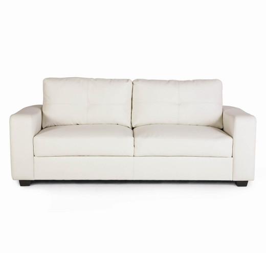 White Lacey Bonded Leather Sofa | Pallucci Furniture