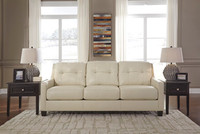 Harley Genuine Leather Queen Sofa Bed Cream
