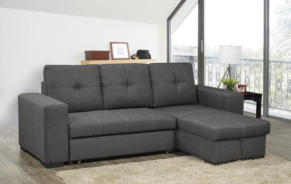 Aspen fabric reversible double sofa bed with storage grey for Sofa bed weight