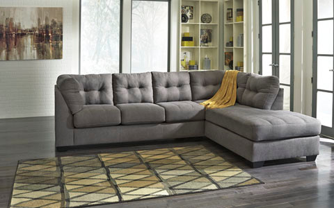 Carlos Fabric Right Facing Double Sofa Bed Grey