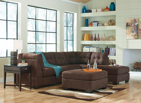 Carlos Fabric Right Facing Sectional Brown