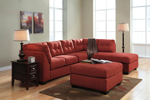 Carlos Fabric Right Facing Double Sofa Bed Red Pallucci Furniture