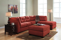 Carlos Fabric Right Facing Double Sofa Bed Red