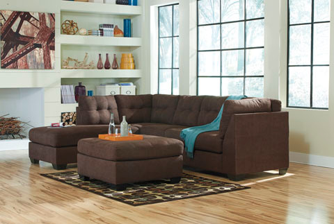 Carlos Fabric Left Facing Double Sofa Bed Brown