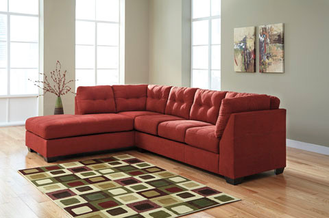 Carlos Fabric Left Facing Double Sofa Bed Red