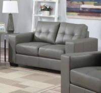 Lacey Bonded Leather Loveseat Grey