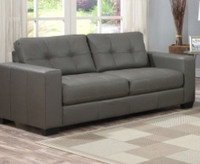 Lacey Bonded Leather Sofa Grey