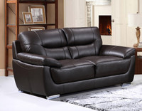 Bryce Genuine Leather Loveseat Brown