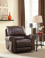 Darla Genuine Leather Rocker Recliner Brown