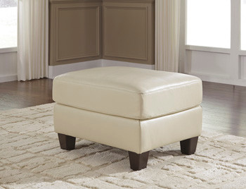Harley Genuine Leather Ottoman Cream