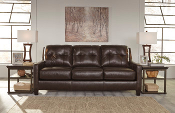 Harley Genuine Leather Queen Sofa Bed Brown