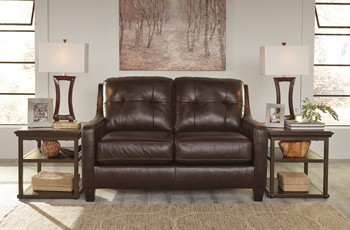 Harley Genuine Leather Loveseat Brown