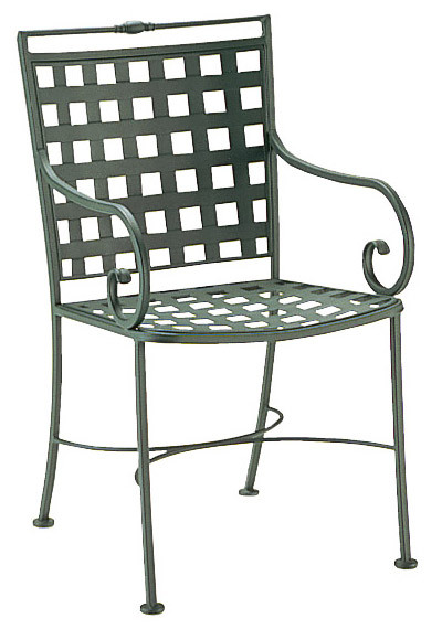 woodard sheffield wrought iron dining arm chair with lattice back