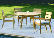 "Consists of one Algarve 52"" Round Dining Table and four Algarve Arm Chairs. Optional chair cushions sold separately."