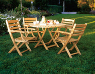 """Consists of a Newport 42"""" Dining Table and four Gearhart Arm Chairs"""