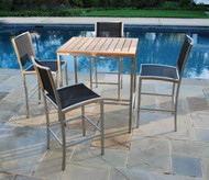 "Consists of a 35"" Square Tiburon High Dining Table and four Tiburon Armless High Dining Chairs"