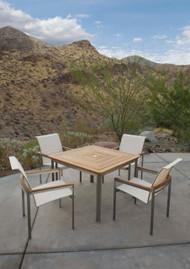 "Consists of one 42"" Tivoli Square Dining Table and Four Tivoli Dining Arm Chairs."