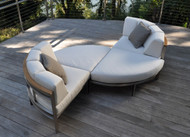 Consists of two Curved Corner Chairs and two Curved Ottomans. Pillows sold separately.