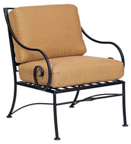 Woodard Sheffield Wrought Iron Outdoor Lounge Chair with Cushions