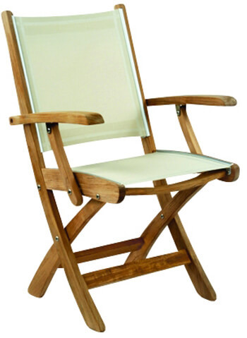 Kingsley Bate St. Tropez Teak Folding Dining Arm Chair With Fabric Sling