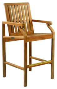 Kingsley Bate Nantucket Teak Bar Chair with Arms