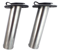 Two 15 Degree Rod Holders 316 Marine Stainless Steel Rubber Cap, Liner, Gasket