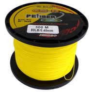GSR PEfiber Braid Fishing Line 80lb Yellow 100% UHMWPE Dyneesi