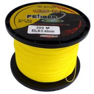 GSR PEfiber Braid Fishing Line 80lb Yellow 100% UHMWPE Dyneesi